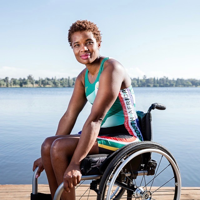Sandra Khumalo pictured next to a lake