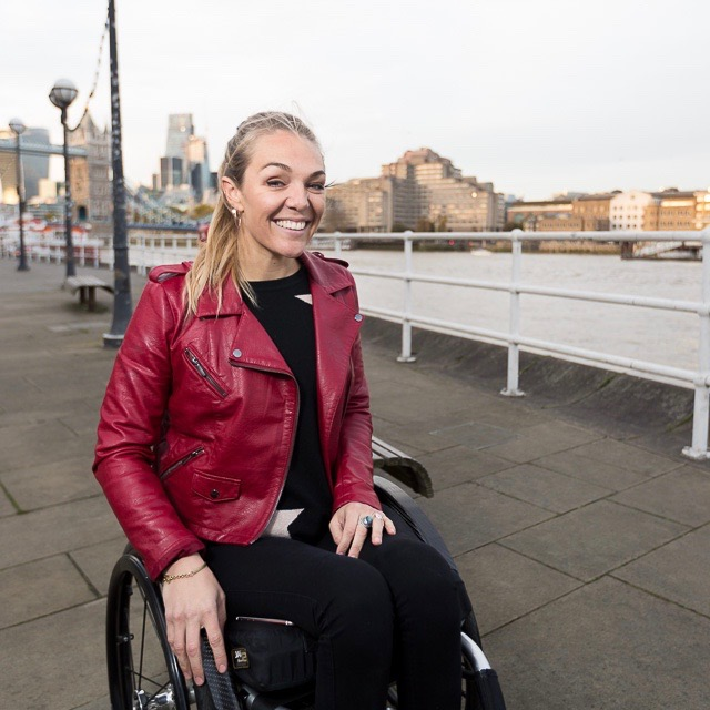 Sophie Morgan pictured next to the Thames River in London